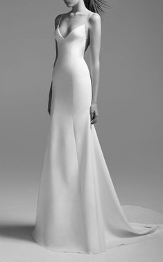 """Wedding Gown Kristen Satin Bikini Gown by ALEX PERRY BRIDE for Preorder on Moda Operandi - This **Alex Perry Bridal** Kristen Satin Bikini Gown""""featuresa trumpet silhouette with a low v neckline, modified straps and open back. Alex Perry, Banquet Dresses, Dress Vestidos, Classic Wedding Dress, Classic Dresses, Groom Style, Trendy Dresses, Fashion Dresses, Fall Dresses"""