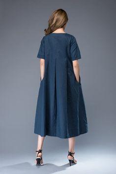 684fa288f58 Linen Dress Versatile Casual Blue Linen Midi Length by YL1dress Handmade  Clothes