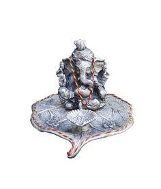 Lord Ganesha With Diya Lamp On Leaf By eCraftIndia God Idols & Statues on Shimply.com
