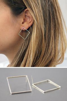 These square earrings take the basic geometric shape of the square and turn it into a stylish and classic piece of jewelry.
