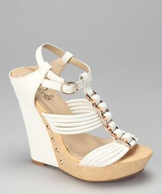 Take a look at this White Adrianna Wedge by Rosette on #zulily today!