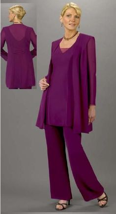 Custom Made Plus Size Purple Chiffon Mother Of The Bride Pant Suits With 3 Pieces Outfit Vest Pants Suit ONSALE Free Shipping $159.00