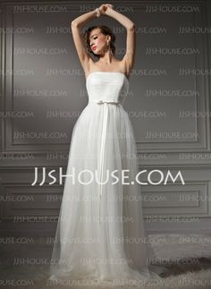 Wedding Dresses - $146.79 - A-Line/Princess Strapless Court Train Satin  Tulle Wedding Dresses With Ruffle (002011544) http://jjshouse.com/A-line-Princess-Strapless-Court-Train-Satin-Tulle-Wedding-Dresses-With-Ruffle-002011544-g11544