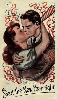 (via Vintage Ads - Bonne année de Barbasol - Joyeux Noel! Vintage Happy New Year, Vintage Holiday, Vintage Greeting Cards, Vintage Postcards, New Year's Kiss, Pintura Exterior, Auld Lang Syne, Images Vintage, Vintage Pictures