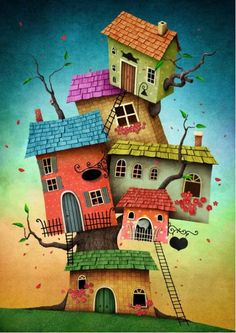 Find Illustration Unreal Tree House Card Book stock images in HD and millions of other royalty-free stock photos, illustrations and vectors in the Shutterstock collection. Art Fantaisiste, House Illustration, Happy Paintings, Owl Paintings, Cute House, House Drawing, Naive Art, Art Abstrait, Whimsical Art