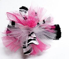 Zebra Scrappy Fabric Hot Pink & White Tulle Hair Bow Headband | gingasgalleria - Children's on ArtFire