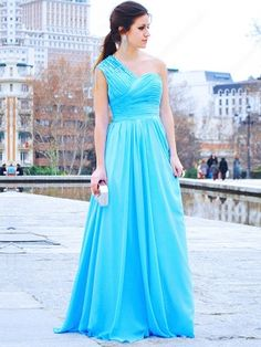 A-line One Shoulder Chiffon Floor-length Blue Ruffles Evening Dress.  more sparkles for prom dress