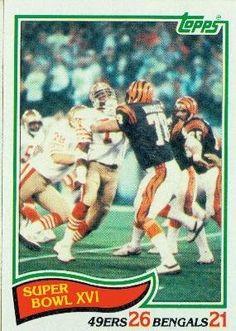 1982 Topps #9 Super Bowl XVI / Anthony Munoz - Cincinnati Bengals (Football Cards) by Topps. $0.99. 1982 Topps #9 Super Bowl XVI / Anthony Munoz - Cincinnati Bengals (Football Cards)