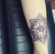 Hippie Boho Mandala Sunflower Women Tattoo.