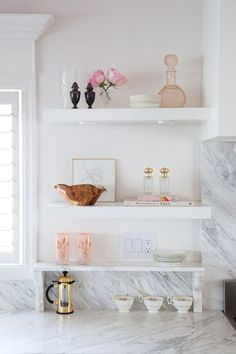 marble + white kitchen shelves