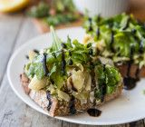 Open-Faced Lemon Pepper Artichoke and Arugula Sandwiches // @veggiebeastblog