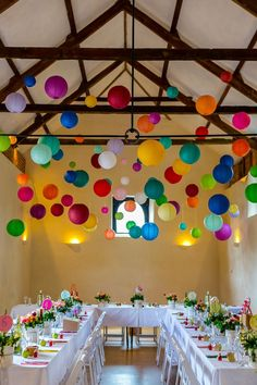 Could achieve similar look with hanging balloons! The Hanging Lantern Company - hanging paper lanterns and other pretty products to help you style and decorate your wedding day Wedding Table, Wedding Blog, Wedding Reception, Wedding Day, Decor Wedding, Dress Wedding, Wedding Flowers, Trendy Wedding, Rainbow Wedding Decorations