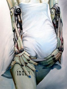 """""""Idoru"""" - Derby Blue {contemporary figurative illustrator android bionic arms woman posterior back painting}"""
