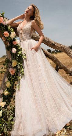 gala galia lahav spring 2017 sleeveless deep vneck aline wedding dress (711) mv pocket