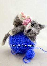 Fart filc i nie tylko Needle Felted Animals, Felt Animals, Needle Felting Tutorials, Felt Cat, Felt Patterns, Bear Doll, Cat Crafts, Arm Knitting, Nuno Felting