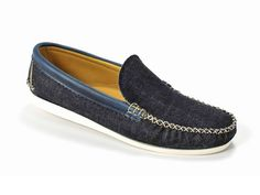 (6) Denim Venetian Loafer with a White Camp Sole - Quoddy Mens Handsewn Selvedge Denim Moccasins, Loafers & Boat Shoes - Made in Denim Picks 2013 Spring Footwear