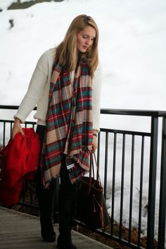 Red Coat with a checked Scarf from Asos and a white Oversize Sweater