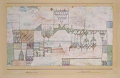 Gran Salón para Cantantes  Paul Klee (alemán (nacido en Suiza), Münchenbuchsee 1879-1940 Muralto-Locarno)  Fecha: 1930 Medio: Acuarela y gouache sobre gesso sobre papel Dimensiones: H. 10-3/4, 18-7/8 pulgadas (W. 27,3 x 47,9 cm.) Clasificación: Dibujos Línea de crédito: La Colección Berggruen Klee, 1987