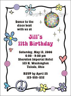 Disco Party Kid Invitation (girls)