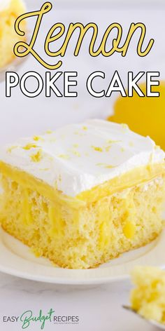This easy Lemon Poke Cake is made with lemon cake mix, lemon pudding mix, milk, and cool whip. It's a refreshing lemon dessert that is a family favorite. For more easy dessert recipes follow Food Folks and Fun!