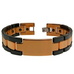 "14mm Black Ceramic and Rose Gold Quality Plated Stainless Steel Magnetic Ion ID Bracelet - 8"" inches Forever Flawless Jewelry. $54.95. Free Gift Box with Every Purchase. 30 Day Money Back Guarantee. Nickle Free. Hypoallergenic"