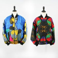 vintage 90s reversible PICASSO art BAROQUE scarf print bomber puffer jacket size L/XL by PasseNouveauVintage, $44.85