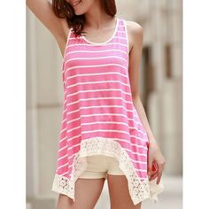 11.67$  Watch now - http://diiot.justgood.pw/go.php?t=174230102 - Chic Scoop Neck Sleeveless Bowknot Design Striped Women's Tank Top
