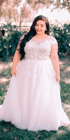b8b3290c72c 15 Lace Plus Size Wedding Dresses. Vow Renewal Dress ...
