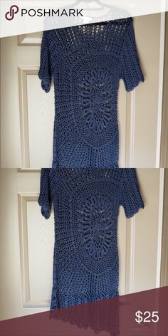 Navy blue crocheted dress Worn twice. Beautiful Crochet detail. Knee length but I always wore a shorted slip under it to make the detail stand out. Size large- Fits smaller. Dresses Midi