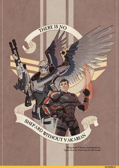 Mass Effect,фэндомы,ME art,Garrus,ME персонажи,Shepard,darthfar