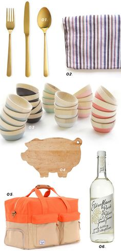 These painted wooden bowls are beautiful and the pig cutting board reminds me of mama powell :)