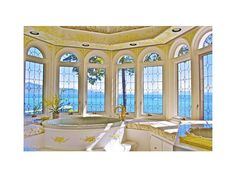 In the master bathroom, the simple floral motif from the bedroom frames the unparalleled view of Lake Tahoe. Dream Bathrooms, Beautiful Bathrooms, Luxurious Bathrooms, Luxurious Homes, Luxury Homes, Relaxing Bathroom, Master Bathroom, Bathroom Red, Lago Tahoe