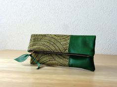 Leather Clutch in Italian Leather and European  Canvas by iragrant, $59.00