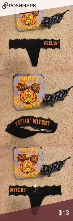 🎀NWT VS PINK Halloween thong🎀 Super cute new with tags black and orange lace extra low rise thongs by VS PINK PINK Victoria's Secret Intimates & Sleepwear Panties