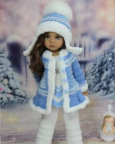 Doll Patterns Free, Doll Clothes Patterns, Crochet Doll Dress, Knitted Dolls, Chunky Knitwear, Ag Doll Clothes, Little Doll, Cute Dolls, Amigurumi Doll