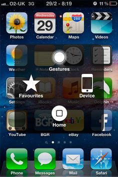 Assistive touch on the iPhone and iPad