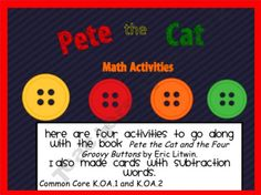 FREE!! Four math activities to go with Pete the Cat