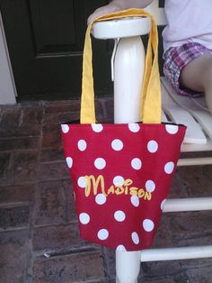 Minnie Mouse Bag with Embroidered Name by homemadegiftsbysusan, $10.00