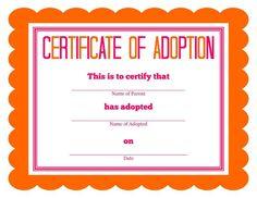 free printable stuffed animal adoption certificate free printables