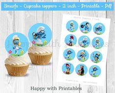 Smurfs cupcake toppers  Blue  Smurfs cake toppers  Smurfs 2