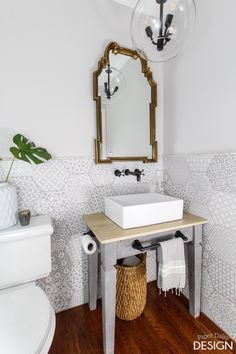 Hexagon wall tile powder room with vanity table. Hexagon Tile Bathroom, Hexagon Tiles, Rectangular Vessel Sink, Floor Design, Tile Patterns, Beautiful Bathrooms, Bathroom Inspiration, Vanity, Interior Design