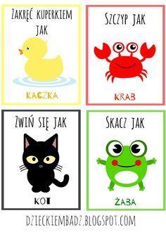 Dzieckiem bądź: Karty ruchowe ze zwierzętami Kids Education, Special Education, Fun Crafts For Kids, Art For Kids, Kindergarten Art, Preschool, Teaching Kids, Kids Learning, Educational Crafts