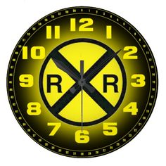 "Advance Warning Sign Railroad Crossings Wall Clock; $28.95 - #stanrail -  Show off your favorite art, photos, and text with a custom round wall clock from Zazzle. Featured in two sizes, this wall clock is vibrantly printed with AcryliPrint®HD process to ensure the highest quality display of any content. Order this custom round wall clock for your walls or give to friends and family as a gift for a timeless treasure.  2 sizes: 8"" diameter (medium) or 10.75"" diameter (large).  @stanrails_store"