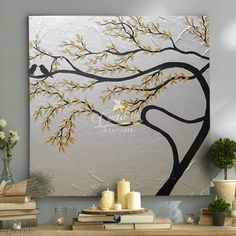 Decorative oil paintings on request. - Cuadros a la Carte - - Decorative oil paintings on request. - Cuadros a la Carte Gold Leaf Art, Gold Art, Diy Canvas Art, Texture Painting, Painting Art, Acrylic Art, Tree Art, Painting Inspiration, Diy Art