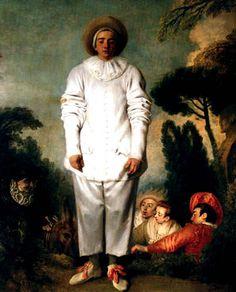 Jean-Antoine Watteau, Pierrot, 1684-1721, peintre français rococo, inspiré par la commedia dell'Arte
