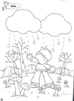 Menta Más Chocolate - RECURSOS PARA EDUCACIÓN INFANTIL: Dibujos para colorear: OTOÑO Colouring Pages, Coloring Pages For Kids, Coloring Books, Weather Activities, Autumn Activities, Spanish Activities, Learning Activities, Color Me Badd, Worksheets For Kids