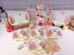 Colors on this set are absolutely phenomenal! This fabulous set has vibrant colors that give a f. China Patterns, Royal Albert, Tea Sets, Cookie Jars, Afternoon Tea, Bone China, Tea Time, Pots, Porcelain