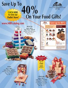 Save up to 40% on fresh and delicious gifts. Visit our outlet store