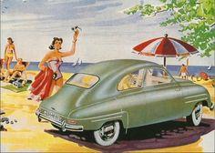 SAAB on the Beach – Swedish Nostalgia Poster