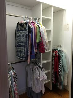 When completed, this student's closet will have additional shelving, floor to ceiling shoe shelving, and 2 peg board areas for accessories. Plenty of space to hang clothes, not fold, saving time and energy! Supply Room, Organizing, Organization, Saving Time, Mudroom, Storage Spaces, Design Projects, Shelving, Ceiling